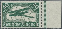 Deutsches Reich - Inflation: 1919, Flugpostmarke 40 Pf Schwarzopalgrün Auf Wolkigem, Wasserzeichenähnlichen Pa