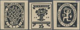 Deutsches Reich - Inflation: 1919, 15 Pfg. Und 25 Pfg. Nationalversammlung Als Ungezähnte Probedrucke In Schwarz Au
