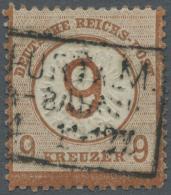 """Deutsches Reich - Brustschild: 1874, 9 Auf 9 Kr. Großer Schild, Braunorange, Mit Dreizeiligem Rahmenstempel """"FRANK"""