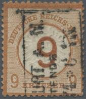 Deutsches Reich - Brustschild: 1874, 9 Auf 9 Kr. Großer Schild, Braunorange, Gestempelt Mit Dreizeiligem Rahmenste
