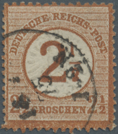 """Deutsches Reich - Brustschild: 1874, 2 1/2 Auf 2 1/2 Gr. Gestempelt Mit Dem Aufdruckfehler """"1 Der Wertangabe 1/2 Nach Li"""