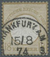 """Deutsches Reich - Brustschild: 1872, 18 Kreuzer Großer Schild Mit Klarem """"FRANKFURT A.M. 15/8 74"""" Mittig Gestempel"""
