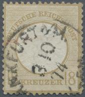 """Deutsches Reich - Brustschild: 1874. 18 Kr. Ockerbraun, Gestemeplt """"Frankfurt A/N. 3 10 74"""", Repariert. FB Sommer BPP (2"""