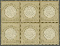 Deutsches Reich - Brustschild: 1872, 18 Kreuzer Ockerbraun Großer Schild Im Postfrischen 6er-Block Mit 2x PLATTENF