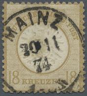 """Deutsches Reich - Brustschild: 1872, 18 Kr. Großer Schild Ockerbraun Im Format L 15 Mit Klarem EKr. """"MAINZ 30.11.7"""