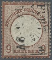 """Deutsches Reich - Brustschild: 1872, 9 Kr. Großer Schild, Rotbraun, Mit Dreizeiligem Rahmenstempel """"FRANKFURT A.M."""