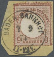 Deutsches Reich - Brustschild: 1872, 9 Kreuzer Hell- Bis Mittelrötlichbraun Großer Schild Auf Briefstück