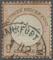 """Deutsches Reich - Brustschild: 1872, 9 Kr. Großer Schild, Rötlichbraun, Mit EKr. """"FRANKFURT A.M. 7/12"""". Die M"""