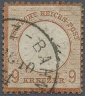 """Deutsches Reich - Brustschild: 1872, 9 Kr. Großer Schild, Mittelrötlichbraun, Mit EKr. """"MAINZ-BAHN. 26/10 74"""""""