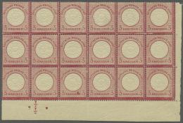 Deutsches Reich - Brustschild: 1872, 3 Kreuzer Karmin, Großer Schild, Postfrisch Im 18er-Block (untere Reihe Falz)