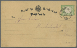 Deutsches Reich - Brustschild: 1874, Ortskarte In FRANKFURT A. MAIN Einzelfrankatur 1 Kreuzer In Dunkelgraugrüner N