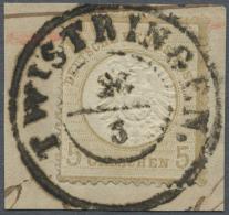 Deutsches Reich - Brustschild: 1872, Freimarke 5 Gr. Großer Schild, Ockerbraun Auf Kleinem Briefstück, Entwer