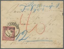 """Deutsches Reich - Brustschild: 1872, 1 Gr. Großer Schild Mit Klarem DKr. """"GELLENDORF 26.12.74"""" Auf Unterfrankierte"""