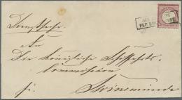 """Deutsches Reich - Brustschild: 1872, 1 Gr. Großer Schild Mit Ra2 """"AUS STETTIN PER DAMPSCHIFF"""" Auf Faltbriefhü"""