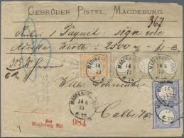 Deutsches Reich - Brustschild: 1873, 1/2 Gr. Orange + Waagerechtes Paar 2 Gr. Blau + Waagerechter Dreierstreifen 5 Gr. B