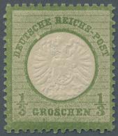 """Deutsches Reich - Brustschild: 1872, 1/3 Groschen Dunkelgrün Großer Schild Postfrisch Mit PLATTENFEHLER """"hell"""