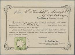 """Deutsches Reich - Brustschild: 1872, Grosser Schild 1/3 Gr Hellgrün Auf Vordruck-VERTRETERANKÜNDIGUNG Von """"DUD"""