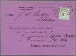 """Deutsches Reich - Brustschild: 1872, Grosser Schild 1/3 Groschen Bläulichgrün Auf Violetter Vordruck-Karte """"SE"""
