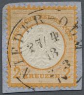 """Deutsches Reich - Brustschild: 1872, Freimarke 2 Kreuzer Orange, Kleiner Schild, Klar Entwertet Mit K1 """"NIEDER-OLM"""