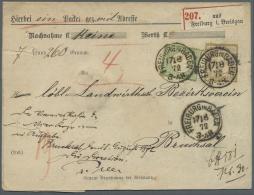 """Deutsches Reich - Brustschild: 1872, 18 Kr. Und 1 Kr. Kleiner Schild Je Mit EKr. """"FREIBURG IN BADEN 17.8.72"""" Auf Paketbe"""