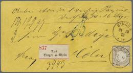 Deutsches Reich - Brustschild: 1872, 18 Kreuzer Kleiner Schild Mit Klarem K1 BINGEN 31 12 73 Als Einzelfrankatur Auf Pak