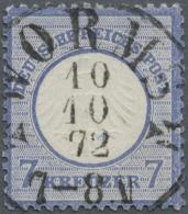 """Deutsches Reich - Brustschild: 1872. 7 Kr. Kl. Schild. Glasklar Und Absolut Zentrisch Gestempelt """"WORMS 10/10/72 7-8"""". E"""