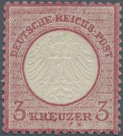 """Deutsches Reich - Brustschild: 1872. 3 Kr Rötlichkarmin, Kl. Schild. FA Krug BPP (2003): """"Die Ungebrauchte Marke Mi"""