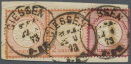 Deutsches Reich - Brustschild: 1872, Freimarken 2 Kr. Rotorange, Kleiner Schild Im Waagerechten Paar Und 3 Kreuzer Karmi