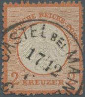 """Deutsches Reich - Brustschild: 1872, 2 Kreuzer Rotorange Tadellos Gestempelt """"(C)ASTEL Bei MAIN(Z) 17/12"""" Signiert B&uum"""