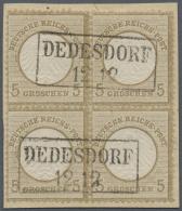 """Deutsches Reich - Brustschild: 1872, 5 Gr. Kleiner Schild Im Viererblock Mit Zwei Klaren Ra2 """"DEDEDORF 12 12"""" Auf Kabine"""