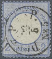 """Deutsches Reich - Brustschild: 1872, 2 Gr. Kleiner Schild Blau Mit Dänischem Duplex-Stempel """"DPSK.P.EXP.No.5. 12.5."""