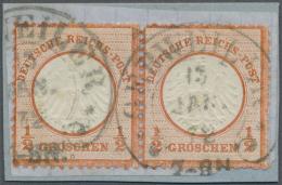 Deutsches Reich - Brustschild: 1872, Waagr. Paar 1/2 Gr Rötlichorange Kl. Schild Auf Briefstück, Hufeisenstemp