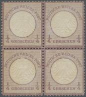 Deutsches Reich - Brustschild: 1872, 1/4 Groschen Grauviolett Kleiner Schild Als Ungebrauchter 4-er Block Mit Einer Mark