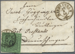 """Württemberg - Marken Und Briefe: 1851, 6 Kr. Blaugrün, Type III Mit K3 """"RIEDLINGEN 27/8 56"""" Auf Kleinem Pracht - Wurttemberg"""