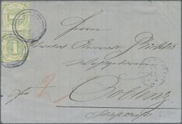 """Thurn & Taxis - Nummernstempel: 1865, 2 X 1 Kr. Dst. (etwas Schnitt) Auf Brief-Vorderseite Mit Blauem Stempel """"Oberl"""