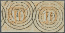 """Thurn & Taxis - Nummernstempel: """"72"""" Groß, 1859, Gestochen Klar Auf 10 Sgr. Orange Im Waagerechten Luxuspaar."""