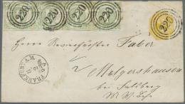 Thurn & Taxis - Ganzsachen: 1865, GA-Umschlag 2 Kr. Gelb (Druck Der Firma Naumann/Frankfurt) Mit Zusatzfrankatur 1 K
