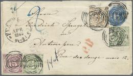 Thurn & Taxis - Ganzsachen: 1861 Ganzsachen-Umschlag 6 Kr. Blau Mit Zusatzfrankatur 15 Kr. Violett, 2x 1 Kr. Gr&uuml