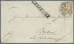 """Thurn & Taxis - Marken Und Briefe: 1865, 9 Kreuzer Braunocker Entwertet Mit Bahnpost-K1 """"FRANKFURT A.M.-CASSEL"""" Und"""