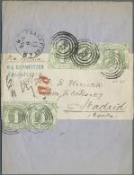 Thurn & Taxis - Marken Und Briefe: 1865, Dreierstreifen + Paar Der 1 Kr. Grün, Farblos Durchstochen Auf Komplet