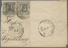 Thurn & Taxis - Marken Und Briefe: 1865, ¼ Gr Schwarz, Unzentrisch Durchstochen, Zwei Marken Mit Gutem Durchs