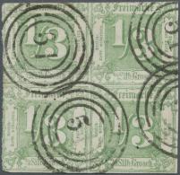 """Thurn & Taxis - Marken Und Briefe: 1862 VIERERBLOCK 1/3 Sgr. Grün Mit Nr.-St. """"51"""" Neustadt Größte B"""