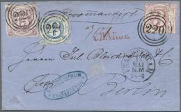 """Thurn & Taxis - Marken Und Briefe: 1859, 15 Kr. Zusammen Mit 1862, 3 Kr. Kamin Und 6 Kr. Blau Alle Mit Nr.-St. """"220"""""""
