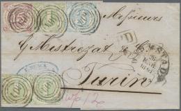 Thurn & Taxis - Marken Und Briefe: 1859, 15 Kr. Braunpurpur, 3 Kr. Blau Und Drei Einzelwerte 1 Kr. Grün Je Mit
