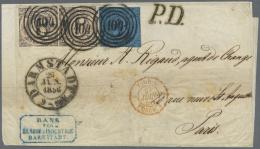 Thurn & Taxis - Marken Und Briefe: 1856, 3 Kr Schwarz A. Blau U. 2 X 6 Kr Schwarz A. Mattrot, Je Sauber Mit Nr.-Stpl