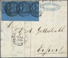 Thurn & Taxis - Marken Und Briefe: 1852, 3 Kr. Schwarz Auf Blau Im Waagerechten Dreierstreifen Mit 13 Mm BOGENUNTERR