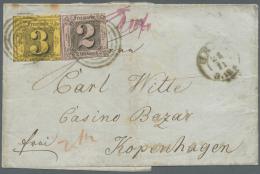 Thurn & Taxis - Marken Und Briefe: 1856, 2 Gr Schwarz Auf Rosa + 3 Gr Schwarz Auf Gelb Auf Brief Nach Kopenhagen.  D