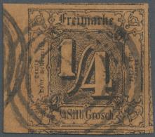 Thurn & Taxis - Marken Und Briefe: 1852, 1/4 Sgr Schwarz/rotbraun Vom Linken BOGENRAND (üb. 4mm) Zentrisch Mit