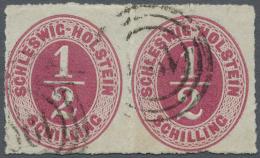 "Schleswig-Holstein - Dreiringstempel: ""190"" - Dampsk. Postsped. No. 6, Zweimal Recht Klar Auf Waagerechtem Paar 1/2 S. R"