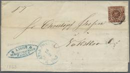 """Schleswig-Holstein - Dreiringstempel: 1863, Kompletter Brief Frankiert Mit 4 Sk. Mit Nummernstempel """"189"""" Von Kiel Nach"""